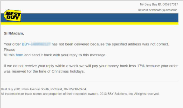 Fake delivery emails lead to malware
