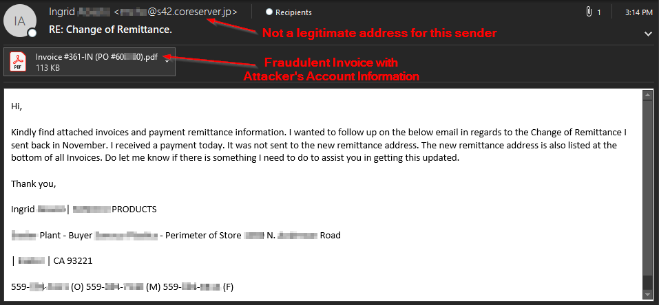 Business Email Compromise s via Name Impersonation on