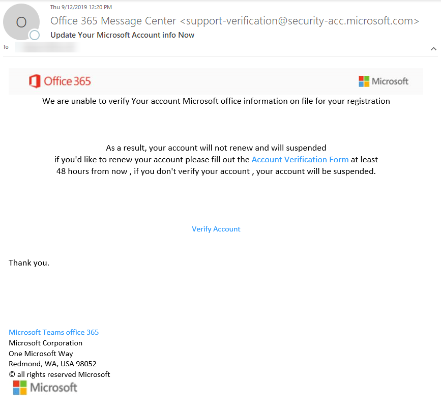 First glance of phishing email Office 365