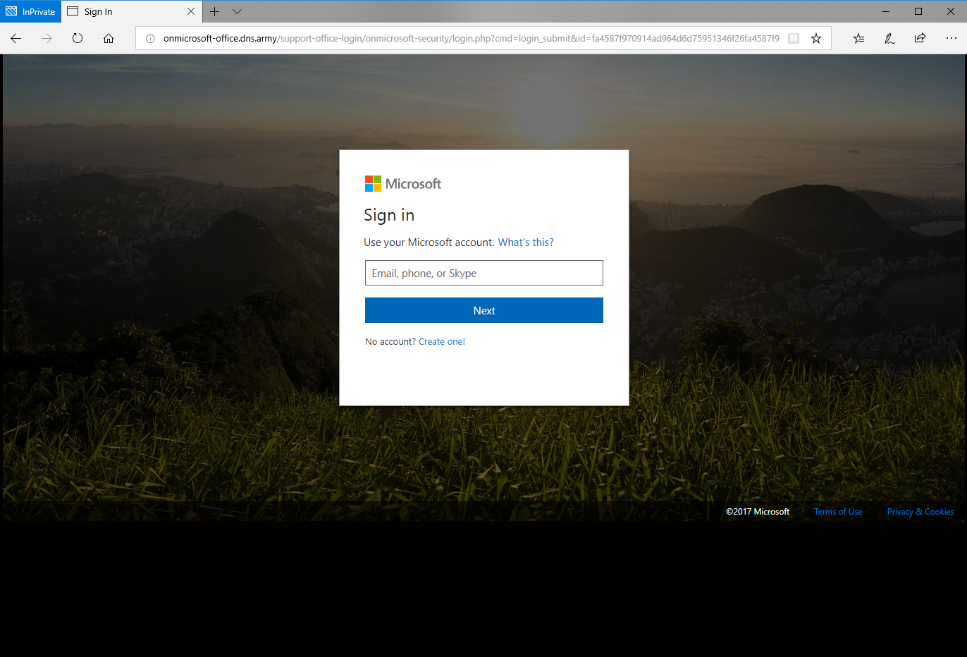 First glance of the phishing website for Office 365 login page