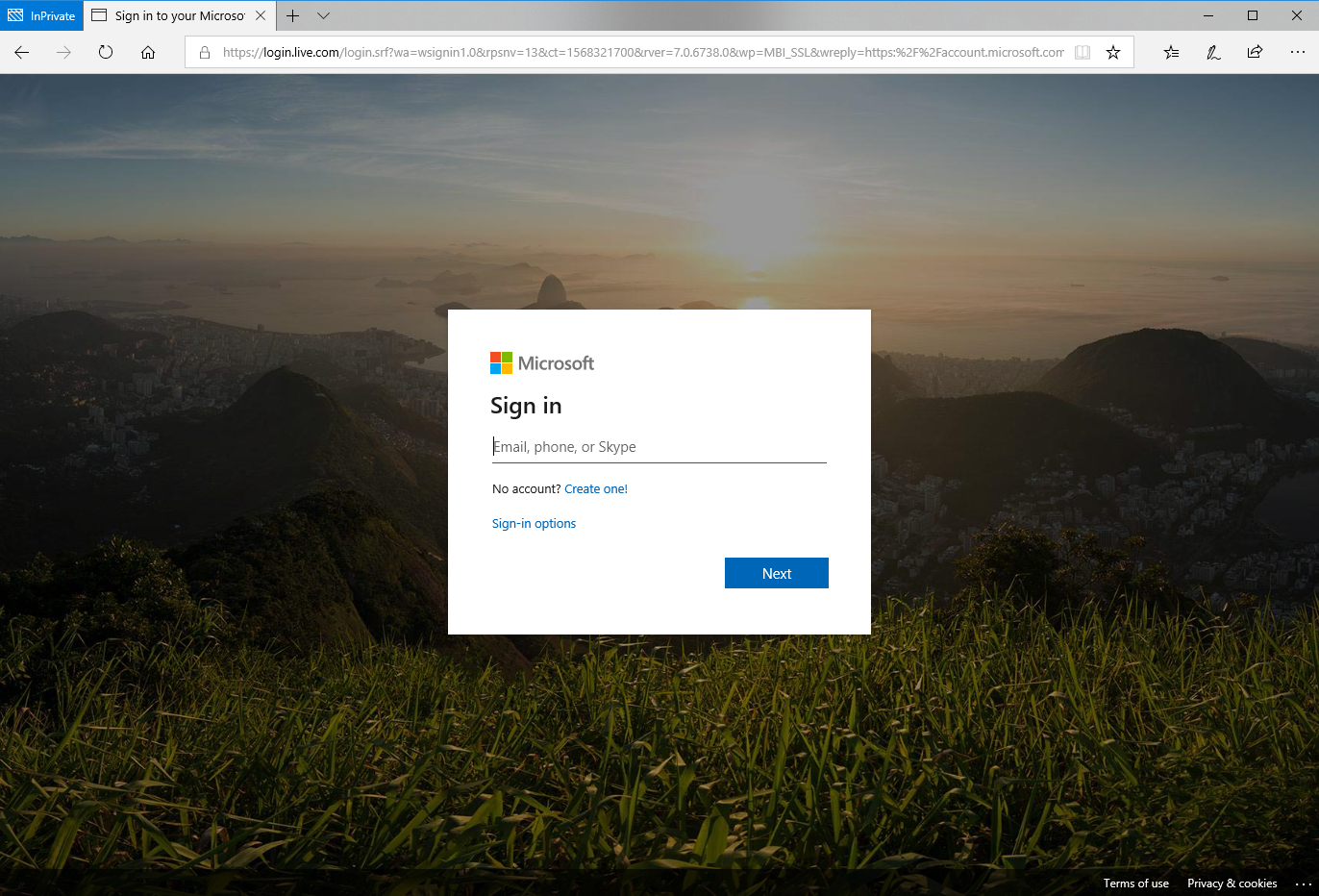 Original Office 365 Login Page