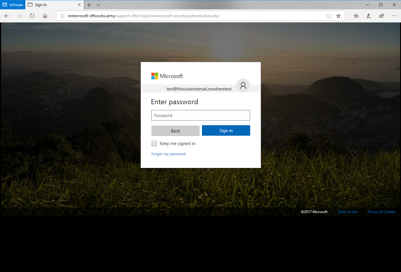 Phishing website for Office 365 password page