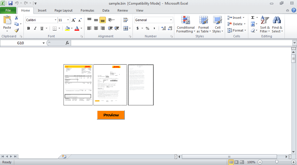 Image of DHL xls file