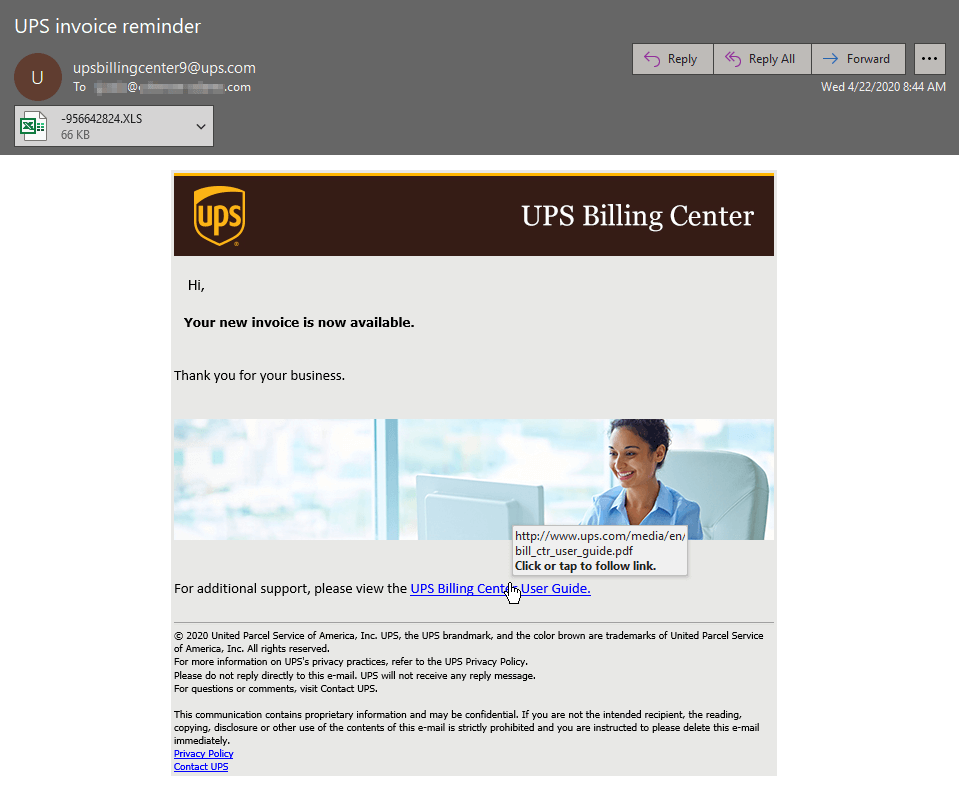 Image of UPS Dridex malware campaign email