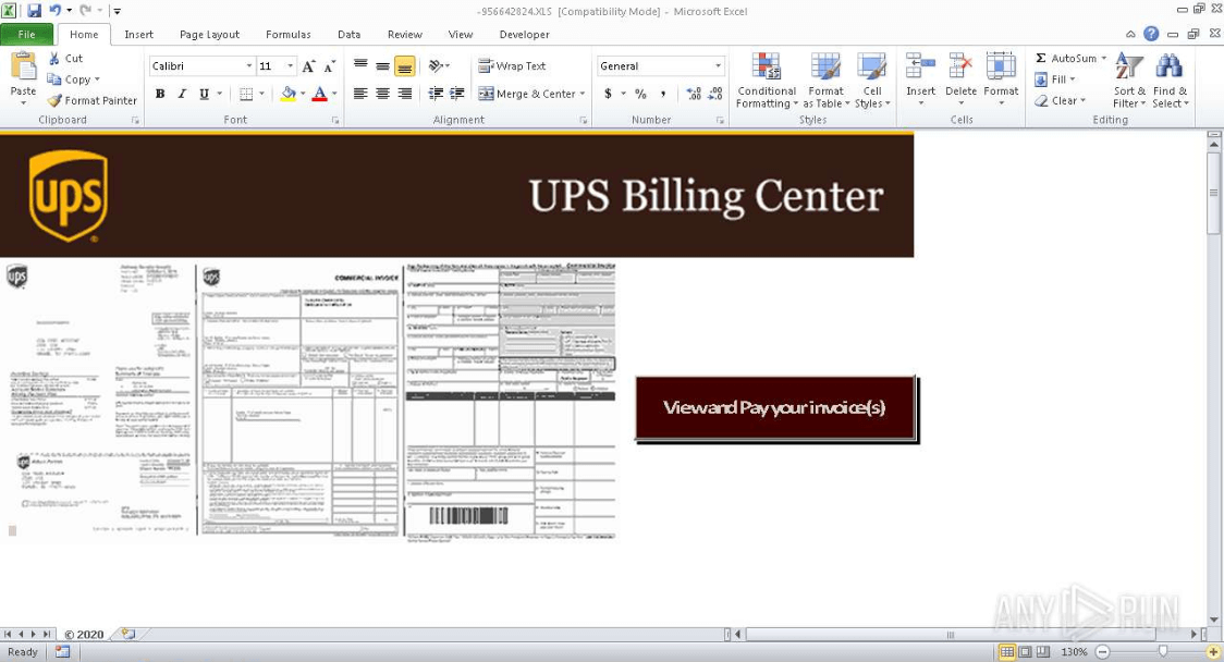 Image of UPS .xls file