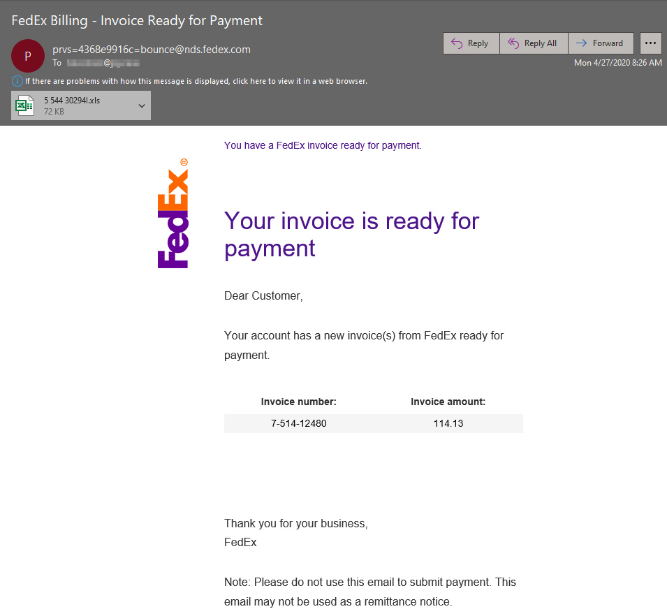 Image of FedEx malicious email