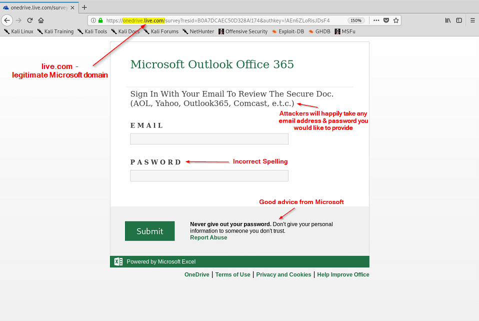 Phishing Site - Hosted on Microsoft