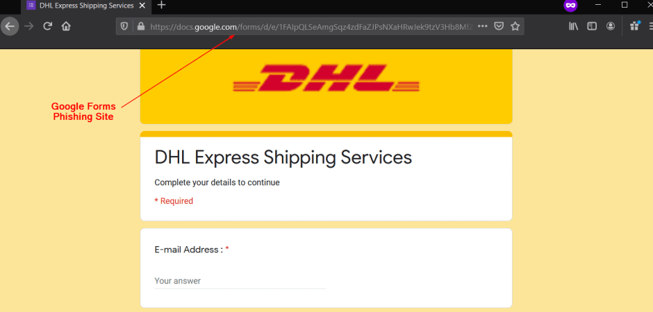 DHL Spoof Abusing Google Forms