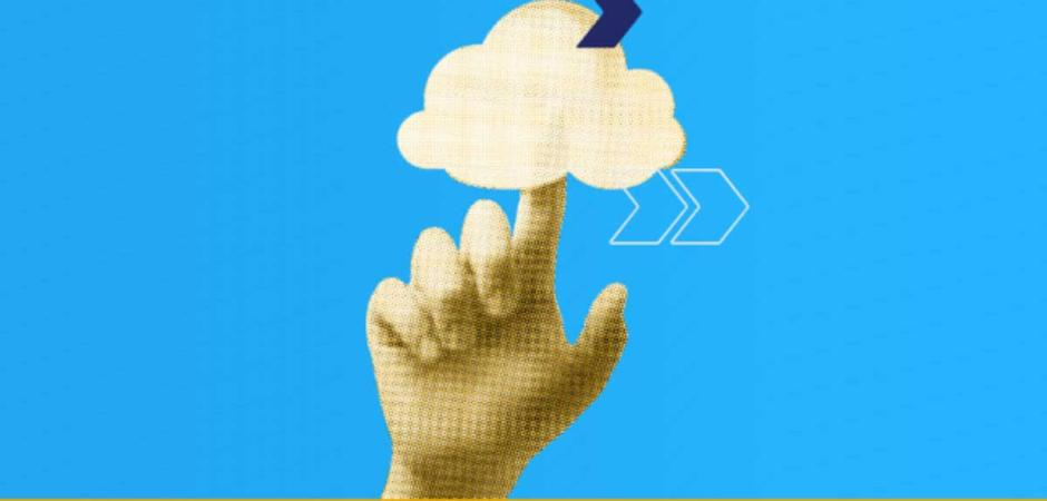 hand pointing at cloud graphic